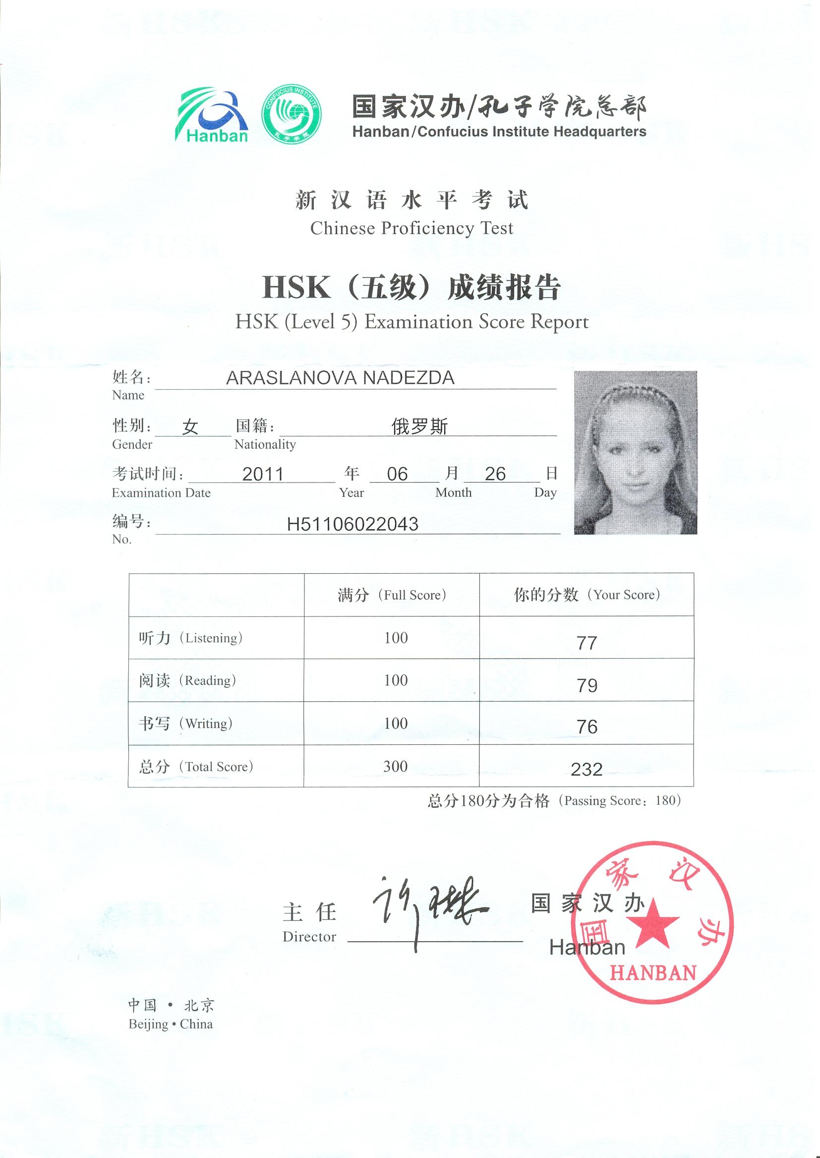 Сертификат о знании Китайского языка