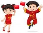 Китайские дети с флагом