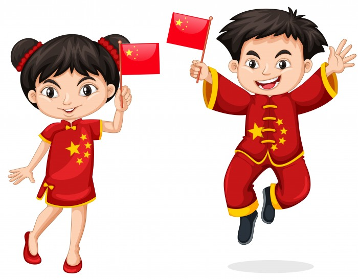дети держат флаг Китая